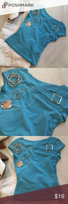A. Byer turquoise stretch knit top Super cute turquoise fitted stretch top with decorative silver buckle. Perfect for the weekend!  Junior fit in size Medium. A. Byer Tops
