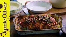 """This is the Ultimate Meatloaf! Pork and beef with oozy mozarella - wrapped up in a jacket of smokey bacon! This comfort classic is the perfect centre piece . Lamb Recipes, Meatloaf Recipes, Seafood Recipes, Cooking Recipes, Healthy Recipes, Healthy Food, Healthy Chicken, Cooking Tips, Scottish Recipes"