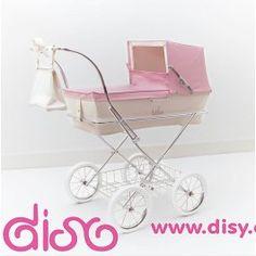 Coche de muñecas Bebelux modelo Paris en beig y rosa. Replica de los coches para bebes de verdad. Un lujo para tus muñecas.