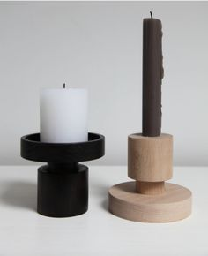 Onshus's Up Side Down Wooden Candlestick Holders: Remodelista. Wooden Candlestick Holders, Wood Candle Holders, Candle Stands, Lathe Projects, Wood Turning Projects, Chandeliers, Wood Lathe, Router Wood, Cnc Router