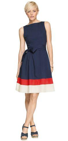 L.L. Bean Signature Poplin Dress, Colorblock