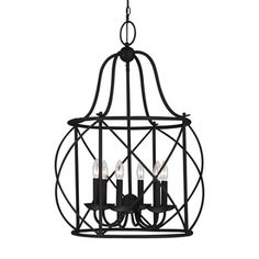Sea Gull Lighting Turbinio 22.25-in 6-Light Blacksmith Country Cottage Cage Chandelier