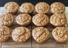 Banana peanut butter oatmeal muffins (no butter or oil). Made these numerous times. Perfect for toddlers for a quick breakfast! (oatmeal peanut butter cookies no sugar) Baby Food Recipes, Snack Recipes, Dessert Recipes, Cooking Recipes, Desserts, Flour Recipes, Peanut Butter Muffins, Peanut Butter Oatmeal, Almond Butter