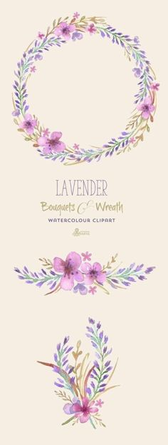 Items similar to Lavender Watercolour Bouquets & Wreath Clipart. Hand painted watercolour floral wedding diy elements flowers invite purple blossom on Etsy Watercolor Clipart, Wreath Watercolor, Watercolor Flowers, Watercolor Paintings, Drawing Flowers, Calligraphy Watercolor, Watercolor Pencils, Watercolor Techniques, Diy Painting