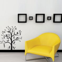 Art Applique by KMG Tree Full Of Cats Decorative Wall Decal + super awesome designer chair Wall Frame Arrangements, Vinyl Room, Interior And Exterior, Interior Design, Mellow Yellow, My Dream Home, Home Decor Inspiration, Chair Design, Frames On Wall