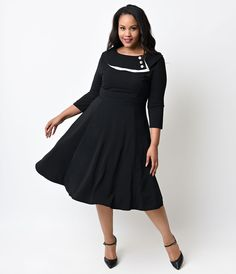 Stop Staring! Plus Size Mad Style Black Cap Sleeve Swing Dress ...