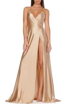 Spaghetti straps champagne prom dress with slit, Shop plus-sized prom dresses for curvy figures and plus-size party dresses. Ball gowns for prom in plus sizes and short plus-sized prom dresses for Satin Dresses, Elegant Dresses, Sexy Dresses, Beautiful Dresses, Strapless Dress, Formal Dresses, Awesome Dresses, Long Dresses, Party Dresses