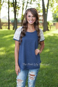 The Pink Lily Boutique - Love For Lace Tee Navy, $32.00 (http://thepinklilyboutique.com/love-for-lace-tee-navy/)