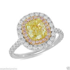 2.20 TCW 18K White Gold Fancy Intense Yellow Cushion Cut Fancy Pink Diamond Ring #SageDesigns #SolitairewithAccents