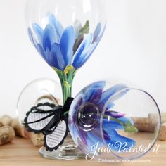 Blue Hibiscus hand painted wine glass.  FREE by JudiPaintedit, $28.00