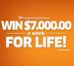Win PCH 7000 a Week for Life Instant Win Sweepstakes, Online Sweepstakes, Microsoft, 10 Million Dollars, Win For Life, Winner Announcement, Publisher Clearing House, Winning Numbers, Cash Prize