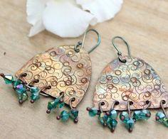 Rustic artisan earrings Artisan copper jewelry Dangle copper earrings Copper dangles