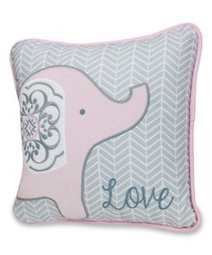 Love this Pink Love Elephant Throw Pillow on #zulily! #zulilyfinds