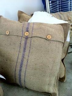 burlap pillows!