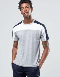 Celio Crew Neck T-shirt with Block Panel Detail