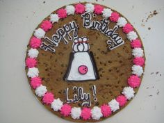 Cookie Cake! American Cookie, Cookie Cakes, Decorated Cookies, Cookie Decorating, Birthday Cake, Baking, Colors, Desserts, Food