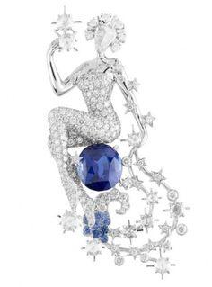 van cleef & arpels constellation cassiopee clip, diamonds and sapphire