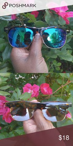 Blue and green club master mirror sunglasses! Brand new blue and green club master mirror lens sunglasses with a brown tortoise frame! ***All of my sunglasses are very good quality! Accessories Sunglasses