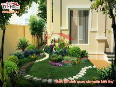 Thiết kế biệt thự sân vườn độc lạ và mới lạ  Để thiết kế biệt thự sân vườn đẹp không chỉ có kiến trúc của ngôi nhà hay việc chọn lựa màu sơn cùng các món đồ nội thất ở bên trong ngôi nhà là đủ. Muốn ngôi biệt thự đẹp và nổi bật thì thiết kế cảnh quan sân vườn cũng là một không những nhân tố quan trọng mà mọi người cần phải để tâm và lưu ý đến. Interior Garden, Home Interior, Outdoor Rooms, Outdoor Decor, Landscape Elements, Front Yard Landscaping, Landscaping Design, Home And Deco, Small Gardens