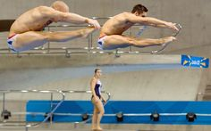 Team GB divers Nick Robinson-Baker and Chris Mears practise their synchronised diving during a training session ahead of the London 2012 Olympic Games at the Aquatics Centre in the Olympic Park