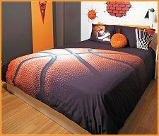 Basket features a basketball set against a brown ground and featuring gym shoes and ball and hoop on pillow shams. Digitally printed on 100% Cotton, machine washable, non ironing fabric.