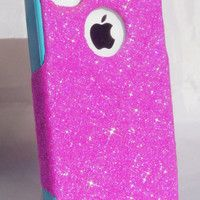 iPhone 4/4S Otterbox Glitter Cute Sparkly Case Commuter Series for Apple iPhone 4/4S Bubblegum Pink/Teal