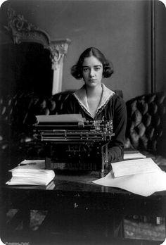 black and white, found, girl, typewriter, victorian, vintage, woman, working girl