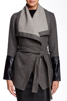 Short Wrap Faux Leather Trim Coat by BCBGMAXAZRIA on @nordstrom_rack