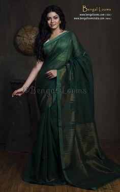 aa77244375b8b Handloom Khadi Cotton Silk Saree with Temple Border in Dark Green. Hot Pink  BlousesCotton ...