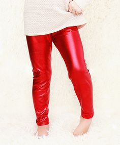 Love this Red Metallic Pants - Toddler & Girls on #zulily! #zulilyfinds