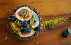 Raw fig & blueberry tart with lime & cashew cream