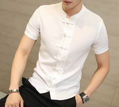 Short Sleeve Shirt Traditional traditional tang suit tops oriental shirts - Men's style, accessories, mens fashion trends 2020 Clubwear, Mens Shirt Pattern, Moda Formal, Mens Kurta Designs, Formal Shirts, Mens Casual Shirts, Looks Style, Shirt Style, Slim Fit