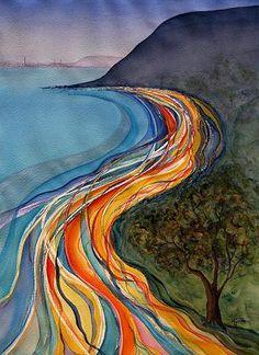 Sweeps of the Bay - Australian artist modern watercolour Australian Artists, Abstract Art, Colours, Watercolor, Modern, Prints, Artwork, Painting, Patterns