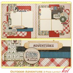 Outdoor Adventure 2-Page Layout Kit, complete with instructions, by PaisleysandPolkaDots.com for a limited time featured at www.scrapclubs.com