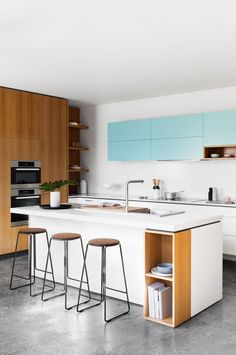 NB: Open Shelving in corner Cantilever-Interiors-kitchen-blue-timber-cabinets