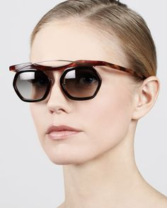 Hexagon Sunglasses, Dark/Light Havana by Prada at Neiman Marcus.