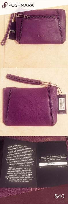 NWT Botkier Soho Wristlet NEW WITH TAGS! Botkier Soho Wristlet in purple with gunmetal hardware and exterior zipper pocket. Authenticity card included. Botkier Bags Clutches & Wristlets