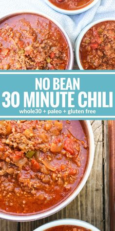 This No Bean 30 Minute Chili is the ultimate comfort food. Plus it's paleo, & gluten free! This No Bean 30 Minute Chili is the ultimate comfort food. Plus it's paleo, & gluten free! Chili Recipes, Mexican Food Recipes, Soup Recipes, Healthy Recipes, Paleo Meals, Paleo Diet, Recipes Dinner, Cake Recipes, Healthy Chili