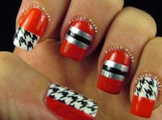 The Polish Plebe: Hounds Tooth Louboutin Inspired Nail Art Design