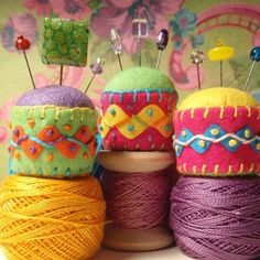 Love these little bottle cap pin cushions. . .   and they are fun to make!