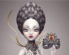 doll art, karolinfelix, valentine day, art prints, corset, victorian circus, circus art, karolin felix, pop surrealism