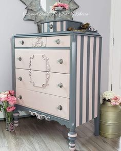 Preserving History in Style With Repurposed Furniture Striped Furniture, Hand Painted Furniture, Refurbished Furniture, Paint Furniture, Unique Furniture, Repurposed Furniture, Shabby Chic Furniture, Furniture Makeover, Office Furniture