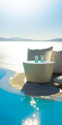 a table for two in Mykonos, Greece