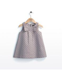 Vestido de bebé niña Trasluz con lazo y topos