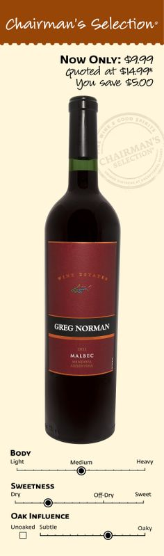"Greg Norman Malbec 2011: ""A gorgeous, deep crimson color with bright purple red hues. The inviting aromas of ripe plum, blackberry and spice lead to a palate where the nose rings true. The juicy fruit flavors mingle with notes of vanilla, clove spice and violet candy. The wine is powerful yet smooth with a fine balance between fruit, structure and acid. The finish is long with a pleasing yet typical Malbec 'grapey' flavor."" *Winemaker's notes. $9.99"