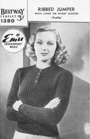 vintage knitting pattern ladies 1940s jumper.  Not a free pattern