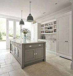 Image result for light grey shaker kitchens