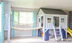 Cabin Playroom with Rope Bridge