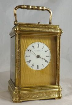 Fine engraved gorge case carriage clock.