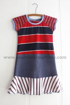 red white and blue #courtneycourtney #designer #graphic #dress #girls #eco #upcycled #recycled #repurposed #red #stripes #blue #navy
